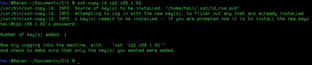 Resultado del comando ssh-copy-id