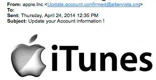 Ejemplo de phishing: iTunes