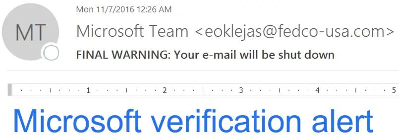 Ejemplo de phishing: Microsoft