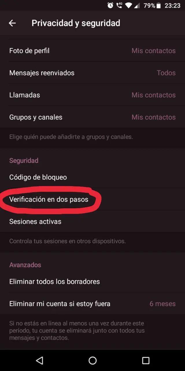 Configuración de privacidad y seguridad de Telegram