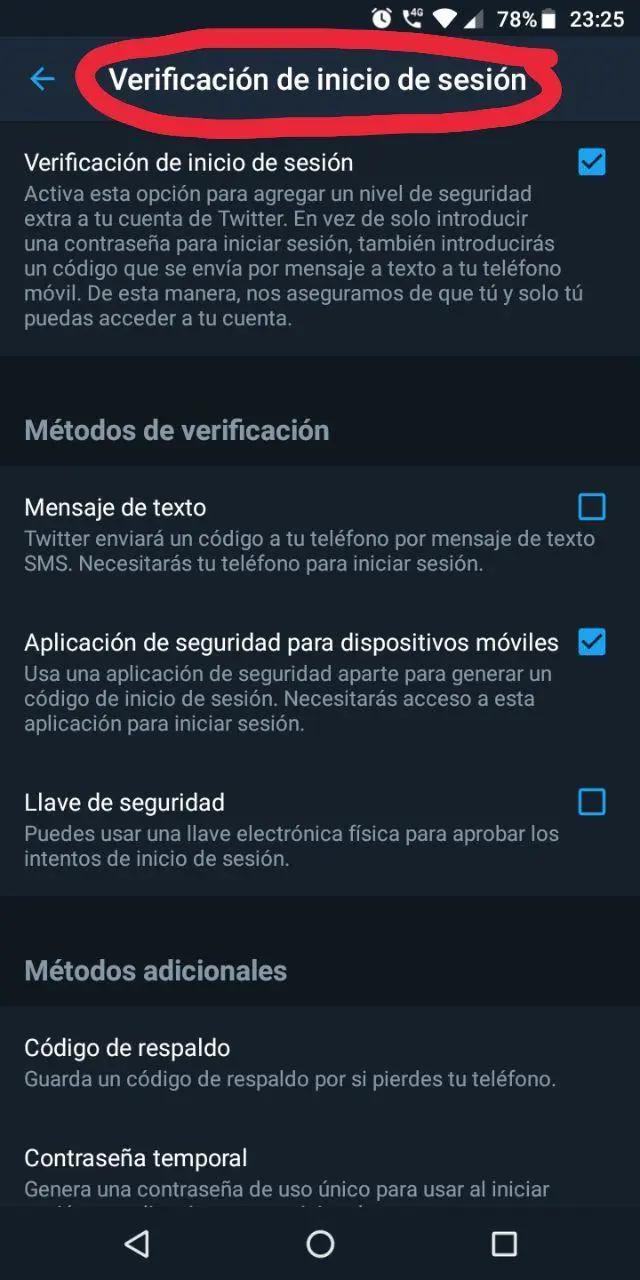 Configuración de verificación de inicio de sesión de Twitter